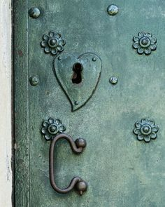 Metal doors with heart shaped lock. Abstract fine art photograph. Bialakura/Etsy. Warsaw Poland