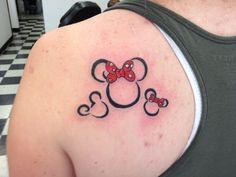 Mickey and Minnie mom and kids tattoo.