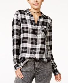 Polly & Esther Juniors' Herringbone Plaid Shirt