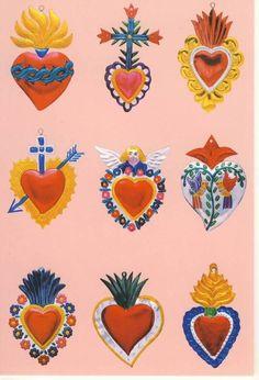 L Wallpaper, Arte Popular, Mexican Folk Art, Heart Art, Art Inspo, Illustration Art, Artsy, Inspiration, Drawings