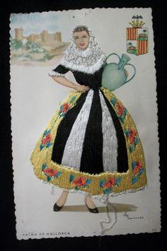 embroidered postcards antique elsi gumier   Vintage Spanish Embroidered Palma de Mallorca Postcard Artist Elsi ...