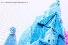 Nombre fieltro Frozen para Vega con Anna Elsa y castillo Helado / Name felt custom Castle Elsa http://accesoriosdulcescaramelos.blogspot.com.es/2015/11/nombre-fieltro-frozen-para-vega.html