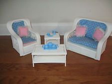BARBIE Vintage 1980's COMPLETE Dream House Wicker Furniture Set