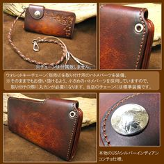 CRAFTH -Leather Silver-   Rakuten Global Market: Dyed artisan 5 degrees シルエットカービング USA Indian Concho long leather wallet / wallet mens fs3gm