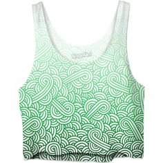 Gradient green and white swirls doodles Crop Top ($35) ❤ liked on Polyvore featuring tops, women, green top, cropped tops, cut-out crop tops, white crop tops and white tops
