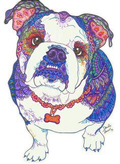 Zentangle English Bulldog  colorful zentangle by ZentanglesXdani
