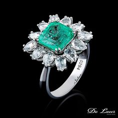 Beautiful #ring with #emerald and #diamonds. #DeLaurJewelry  #DeLaur