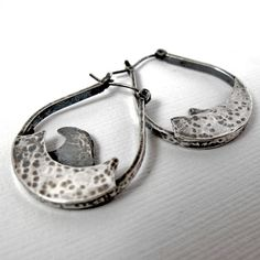 Silver Ocean Earrings  Sterling Silver Hoops  by NinaGibsonDesigns