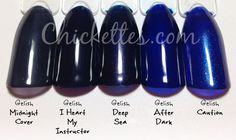 Gelish dark blues comparison. I Heart... is more opaque than Midnight Cover.