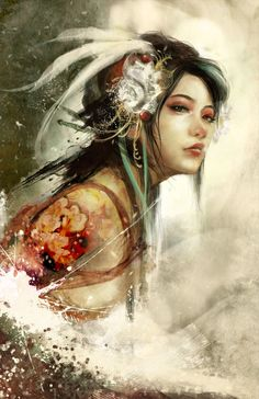 Kai Fine Art is an art website, shows painting and illustration works all over the world. Art Beauté, Art Asiatique, Fantasy Art Women, Beauty Art, Chinese Art, Urban Art, Japanese Art, Native American Indians, Female Art