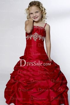 Dropped Waist Spaghetti Ruffled Flower Girl Gown