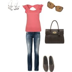 My Casual Style: jeans, nice top, Ray Ban sunglasses, Mulberry Handbag, Toms, cute earrings