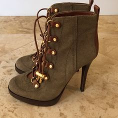 """Tory burch halima suede & leather ankle boots 7.5 Tory burch suede and leather army green ankle boots 5"""" heel. Worn one time! In amazing condition. Tory Burch Shoes"""
