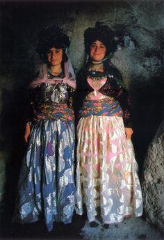 Two Saqdush brides in Bozbash Kandi, a village near Saqez, Kurdistan / late 80s. Photo by N. Kasraian