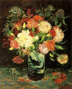 Vase with Carnations, 1886 by Vincent van Gogh. Realism. flower painting. Stedelijk Museum, Amsterdam, Netherlands