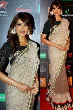 Bollywood Actress Bipasha Basu Cotton and Net Saree in Beige color