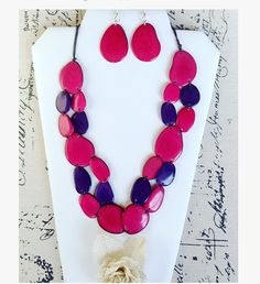 Big Bold chunky necklace made of Tagua nut. Statement necklace. Eco friendly, organic, sustainable jewelry.