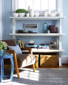 The only ingredients required to create an original and organized bookcase are wooden benches, wood screws, and a screwdriver. Coat benches in latex semigloss paint before stacking to harmonize with the hues of your home.