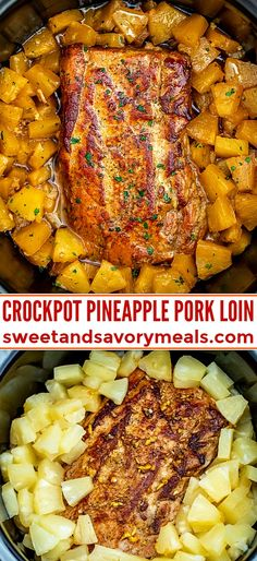 Slow Cooker Pineapple Pork is delicious and tender all you need is just 5 ingredients A great family dinner with a tasty tropical twist pork slowcooker crockpot porkrecipes sweetandsavorymeals pineapplepork chickenrecipe dinner fish Crock Pot Recipes, Crockpot Dishes, Crock Pot Cooking, Pork Dishes, Meat Recipes, Healthy Recipes, Recipes Dinner, Chicken Recipes, Crock Pit Meals