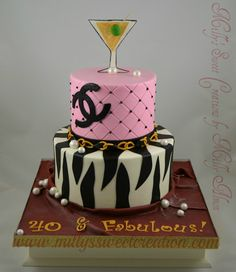 ~ Chanel/Zebra - 40 & Fabulous Cake ~   Buttercream iced cake with fondant details.