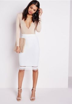 Laser Cut Hem Midi Skirt White - Skirts - Shop by Category - Clothing