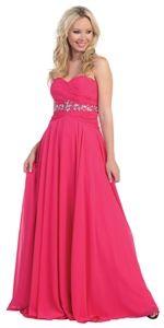 Fuschia Prom Dresses, Long Chiffon Evening Dress, Womens Formal Dress $135.00
