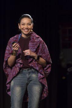 Wearing my gorgeous Oscar Lawalata batik jacket while speaking at Sydney Opera House