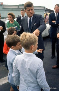 JFK, Ethel Kennedy in background, and some of RFK and Ethel's kids