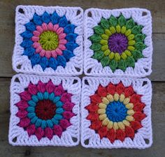 Beautiful Sunburst Granny Squares by Stitch of Love that are based on this wonderful free pattern: http://priscillascrochet.net/free%20patterns/Afghan%20Squares/Sunburst%20Granny%20Square.pdf
