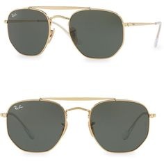 5bee76075a9d Ray-Ban 54MM Geometric Aviator Sunglasses ($163) ❤ liked on Polyvore  featuring men's