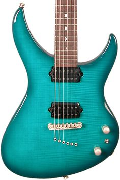 A closer look at the body and finish of the teal coloured Andromeda electric guitar.