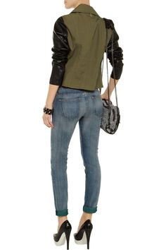 Mackage Debora cotton-canvas and leather biker jacket - 45% Off Now at THE OUTNET