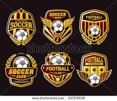 Set of Soccer Football Crests and Logo Emblem Designs. Football Logo Design, Soccer Images, Football Tournament, Crest Logo, Crests, Logo Emblem, Hang Tags, Branding Design, Royalty Free Stock Photos
