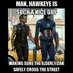 I'm Dying! 'Man, Hawkeye is such a nice guy; making sure the elderly can s… - I'm Dying! 'Man, Hawkeye is such a nice guy; making sure the elderly can s… I'm Dying! Marvel Jokes, Marvel Squad, Funny Marvel Memes, Dc Memes, Avengers Memes, Marvel Dc Comics, Marvel Heroes, Marvel Avengers, Avengers Story