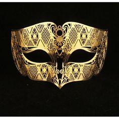 Or mâle mascarade masque Laser Cut masque en métal par Yacanna
