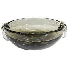 A Carl Erickson Smokey Gray 'Bullicante' Bubble Glass Bowl Offered By Showplace Antique + Design Center $1,600 Reduced From $2,200