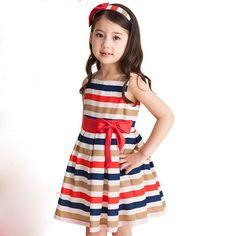 2014 New Summer Children Clothing Girls Dress Striped roupas meninas Sleeveless Party vestidos infantil princesas Girl Dresses   $14.99