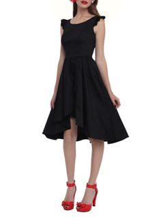 Black Ruffle Hi-Lo Dress