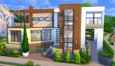 "Wondercarlotta - Sims 4 — Family Home ""Fleuve Tranquille"" This house is no. Sims 4 Modern House, Modern Family House, Sims 4 House Design, Home And Family, Sims 4 Loft, Lotes The Sims 4, Sims 4 Family, Sims 4 House Plans, Different House Styles"