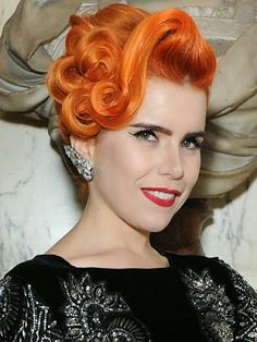 The Cosmos Paloma Faith and her gorgeous orange hair. I wouldn't go so far as to say gorgeous but I do agree that her hair is definetly orange. Pin Up Hair, Love Hair, Big Hair, Gorgeous Hair, Amazing Hair, Cute Hairstyles For Short Hair, Retro Hairstyles, Celebrity Hairstyles, Short Hair Styles