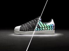 watch 1c8b1 f22f1 Adidas Superstar Xeno Black Supercolor Womens Shell Toe Glow N Reflective