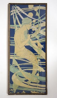 Panel 1 of 2, A Pair of Glasgow School Batik Panels, in the style of Jessie M King, decorated with mermaids, c.1900