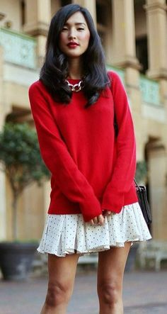 Red sweater & a skirt : A cute way to dress yourself. Pair your loose red sweater with a skirt and add a golden necklace. Skirt Images, Red Sweaters, Lace Skirt, Cool Pictures, Bell Sleeve Top, Golden Necklace, Cool Stuff, Cute, Skirts