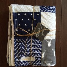 Hunting Nursery Gift Set | Navy & Grey Minky Baby Pathwork Quilt with Matching Pillow | Deer Antler Nursery Bedding | Custom Crib Bedding Se by HoneyBabyBlanket on Etsy https://www.etsy.com/listing/268744415/hunting-nursery-gift-set-navy-grey-minky trendy family must haves for the entire family ready to ship! Free shipping over $50. Top brands and stylish products