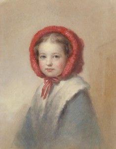 Little Girl in a Red Bonnet George Augustus Baker