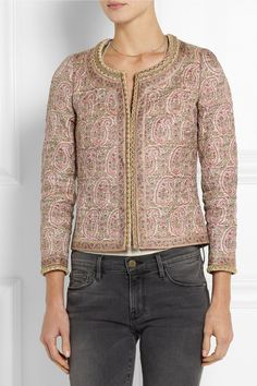Talitha|Paisley-print quilted Tussar silk jacket|NET-A-PORTER.COM