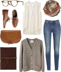 cardigan, oxfords, jeans