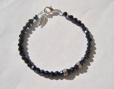Black Crystal Bracelet with silver rondelles by dzinebug on Etsy, €15.00