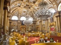 A pair of Baccarat crystal chandeliers hang in the Jai Vilas Palace
