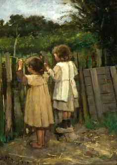 Children Looking Over A Fence--Robert Gemmell Hutchison (1855 – 1936, Scottish)